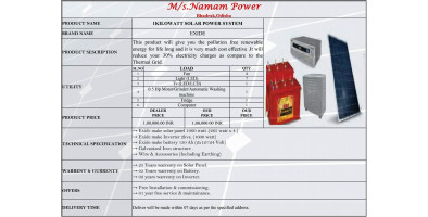 1 KILOWATT SOLAR POWER SYSTEM