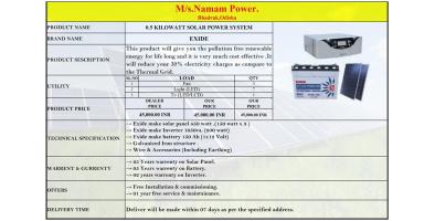 0.5 KILOWATT SOLAR POWER SYSTEM.